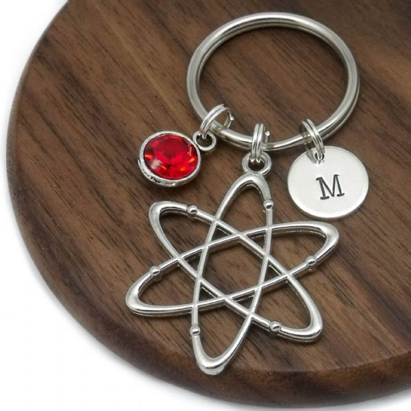 Atom science initial disc personalised keyring gift